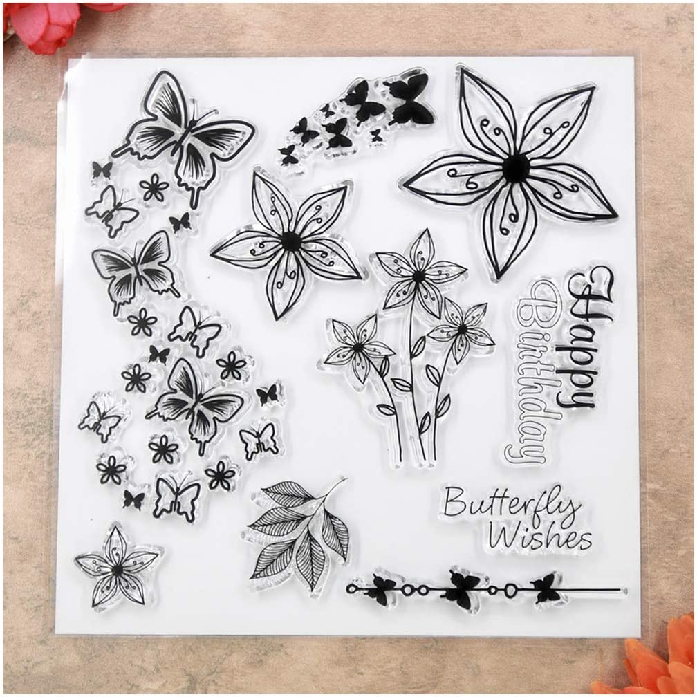 Kwan Crafts Butterfly Background Clear Stamps for Card Making Decoration and DIY Scrapbooking