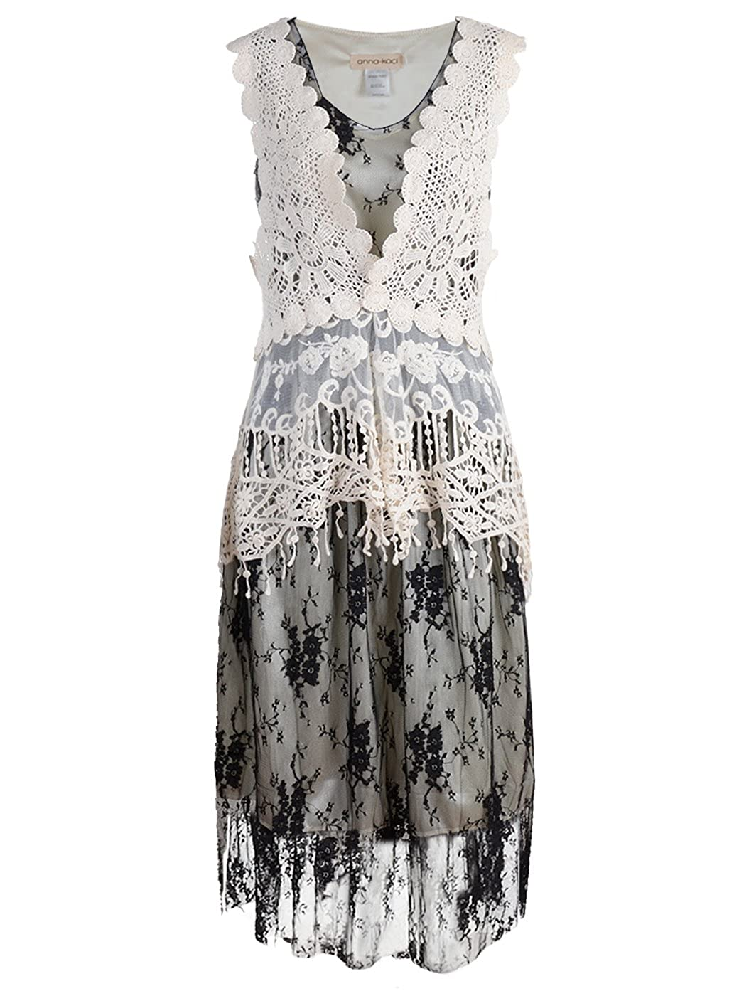 bcc1f438fc0e Anna-Kaci Womens Vintage Lace Gatsby 1920s Cocktail Dress with Crochet Vest  at Amazon Women's Clothing store: