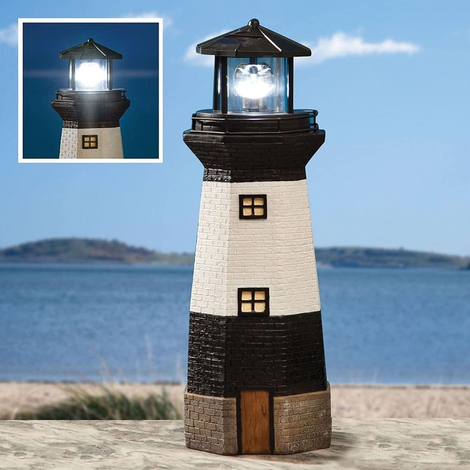 Traditional Solar Powered Rotating Garden Patio Lighthouse Ornament W// LED Light