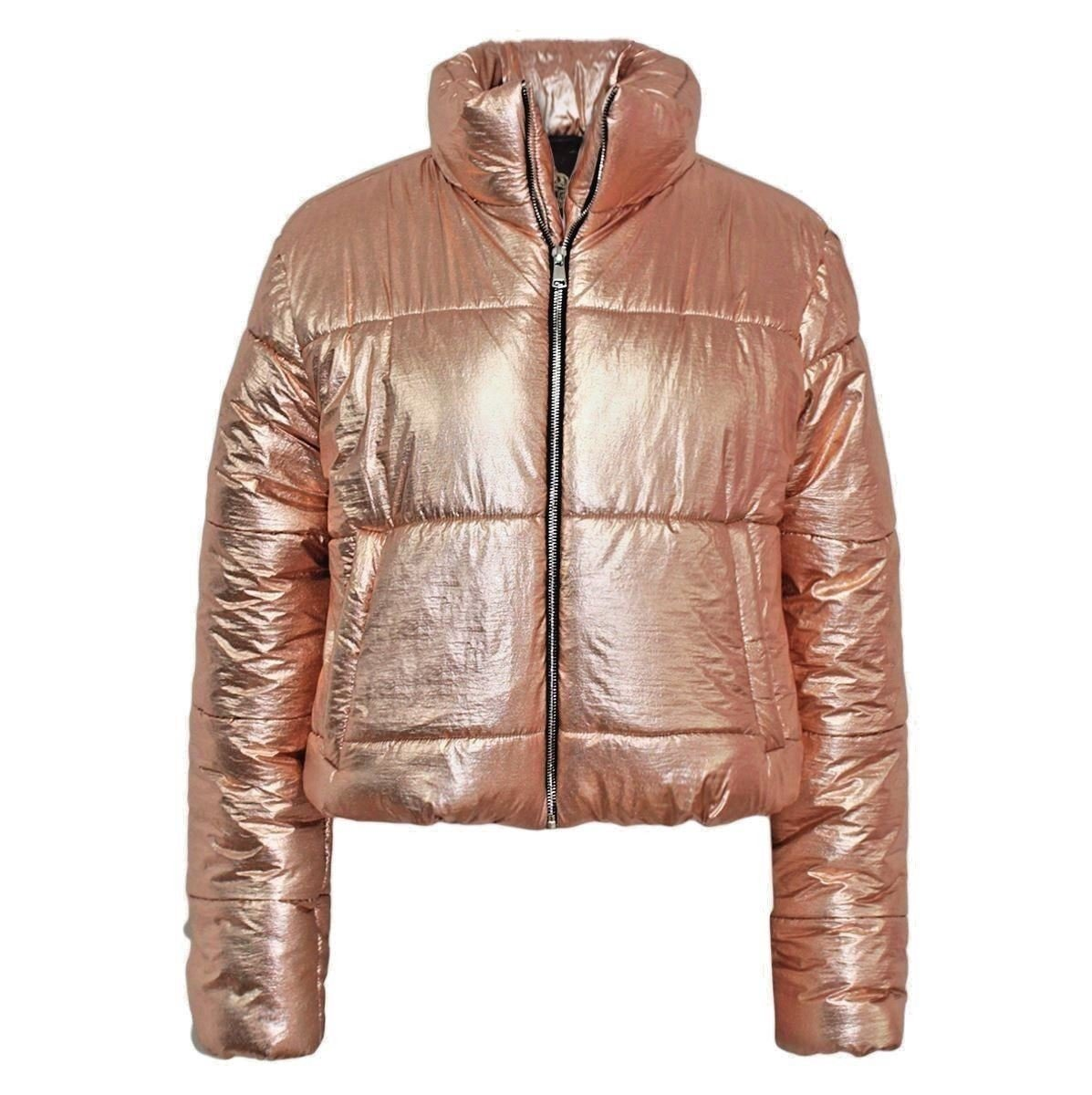 Womens Wet Look Cropped Jackets Coat Ladies Padded Bomber Bubble Puffer Short UK[Bronze Foil-L]