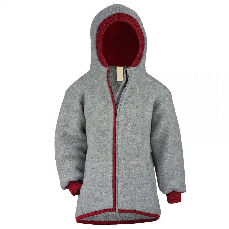 Kids Warm Zip Jacket with Hood, 100% Organic Merino Wool Fleece, Sizes 2-10 years (140cm/ 8-10 years, Grey & Red)