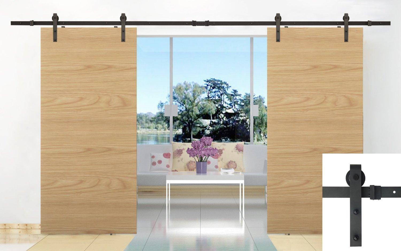 amazoncom 16ft double door sliding barn door hardware black j shape hangers 2 x8 foot rail home improvement