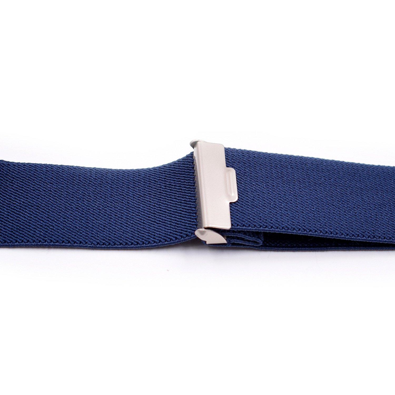 Mens X Back Adjutatble Soild Suspenders with Strong Clips-Width 1 1//2 Length 50