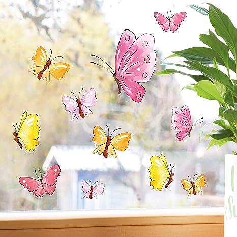 Wandtattoo Loft Fensterbilder Fruhling Pastell Schmetterlinge 10 Fensteraufkleber Im Set Wiederverwendbar Ostern Amazon De Kuche Haushalt