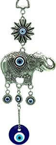 Betterdecor Turkish Blue Evil Eye with Lucky Elephant Wall Hanging Decor Ornament (with a Pouch) -Retro (Retro Silver)