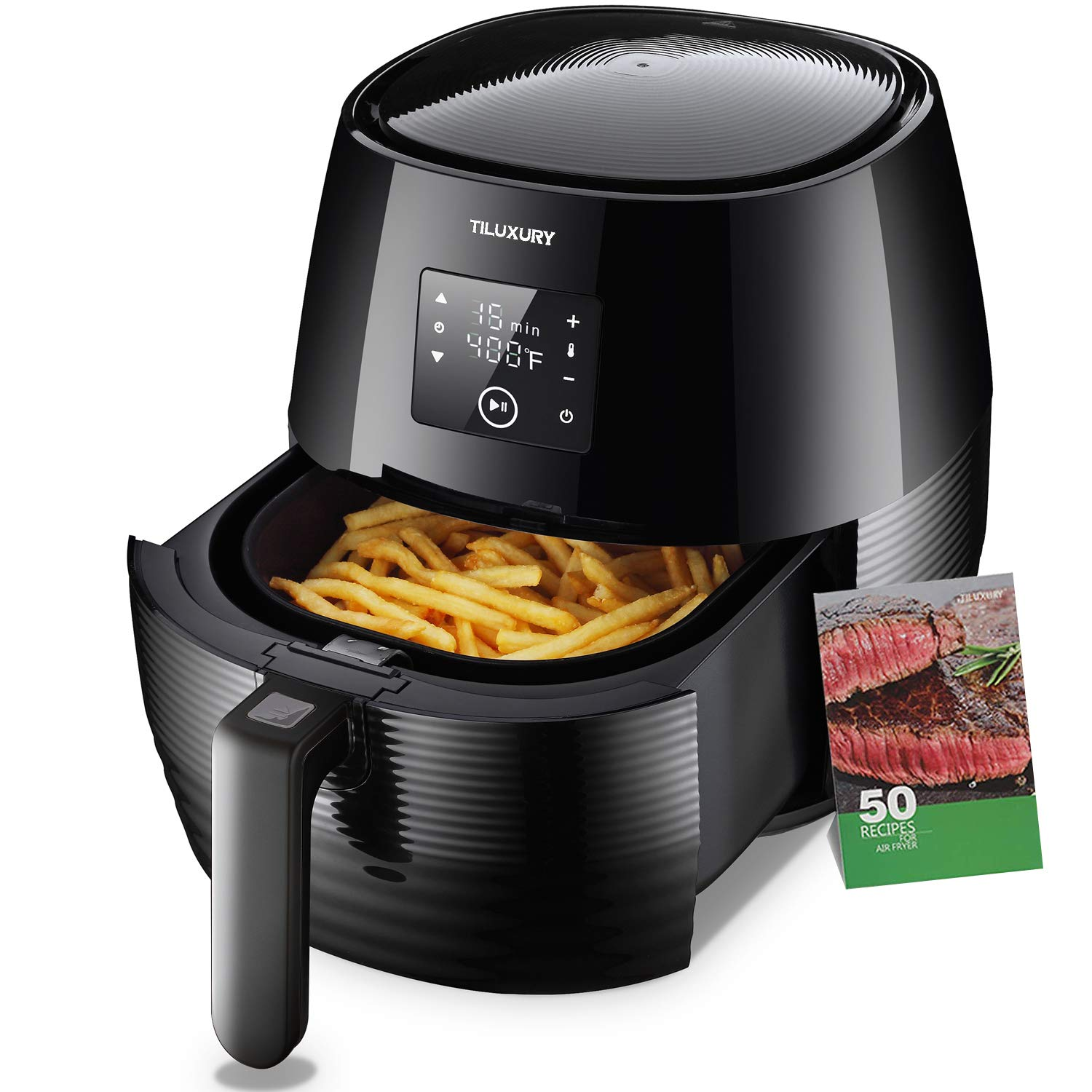 US PIEDLE Air Fryer, 3.7Qt Electric Hot Airfryer Oven Oilless Cooker with Detachable Nonstick Basket, LCD Touch Screen, Dishwasher Safe, Auto Shut Off, W 50 Recipes, 1400W