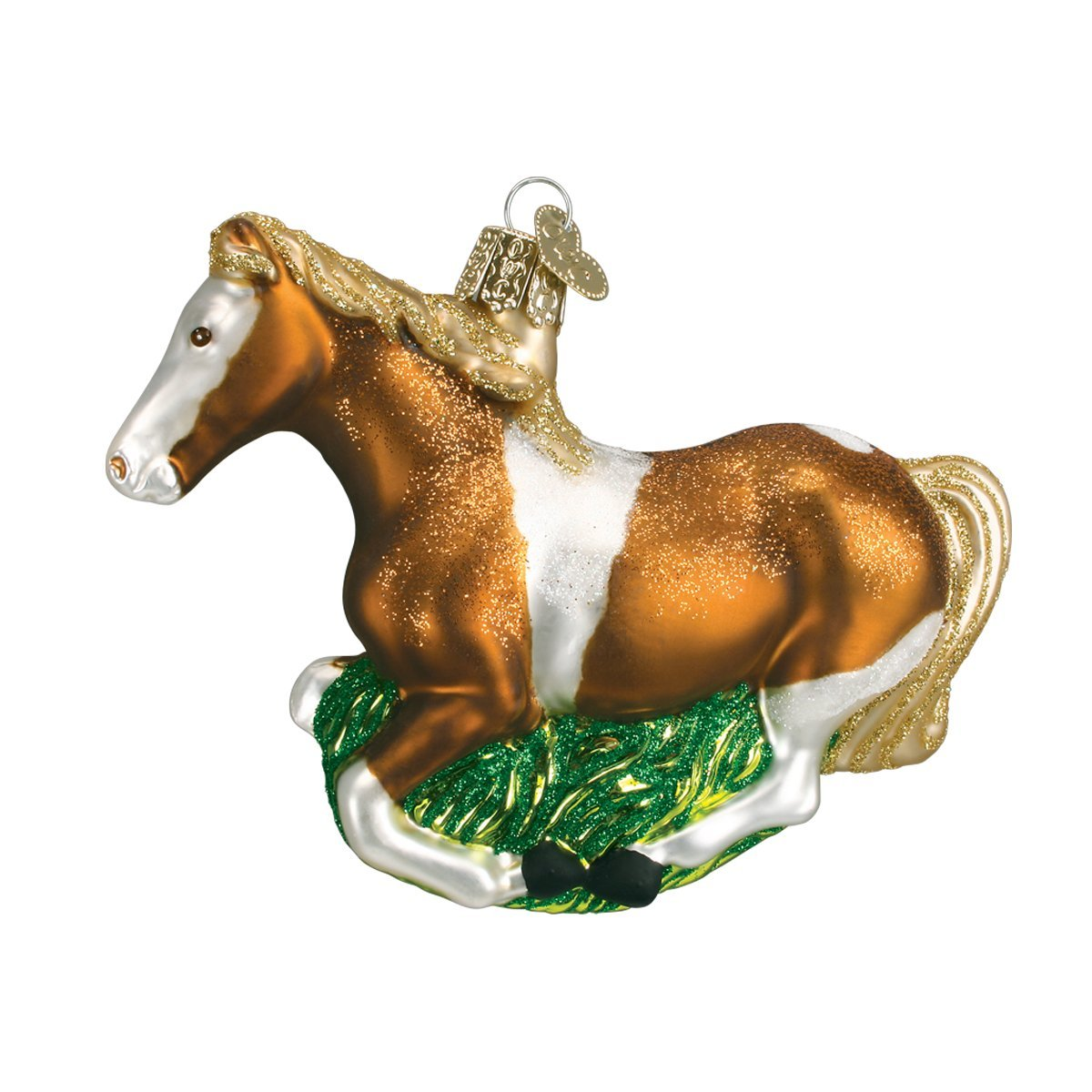 Old World Christmas Glass Blown Ornament with S-Hook and Gift Box, Animal Collection (Mustang, Stripe)