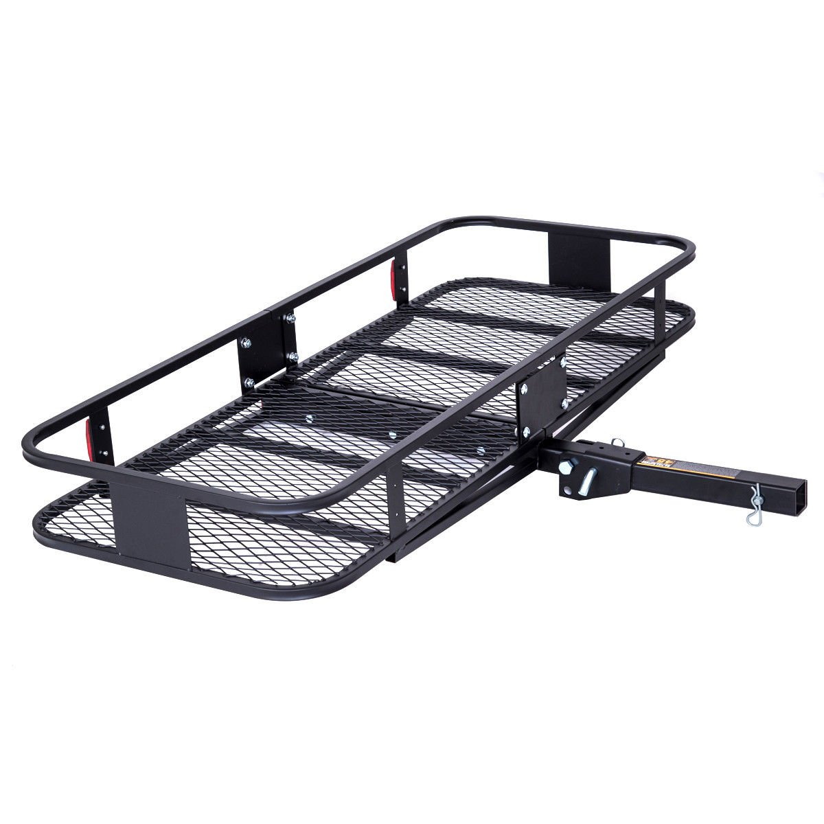 Goplus 60'' Folding Cargo Carrier Luggage Basket Mounted Rack 2'' Receiver Hitch 500LBS Capacity with Safety Reflectors