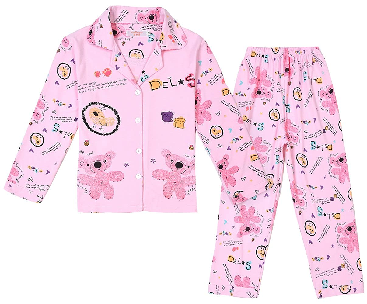 TRENDY XU Cartoon Bears Print 2 Pcs Pajamas Set Long Sleeve Button Sleepwear For Girls
