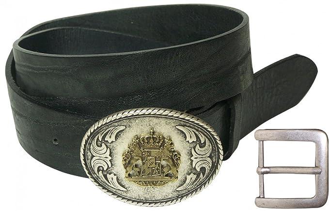 FRONHOFER Traditional Natural Leather Belt, Bavarian Belt, Lion Buckle