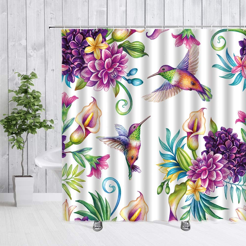 dachengxing Bird Flower Shower Curtain Calla Lily Hummingbird Decor Vintage Garden Dynamic Nature,Fabric Bathroom Set Hooks Included,Purple
