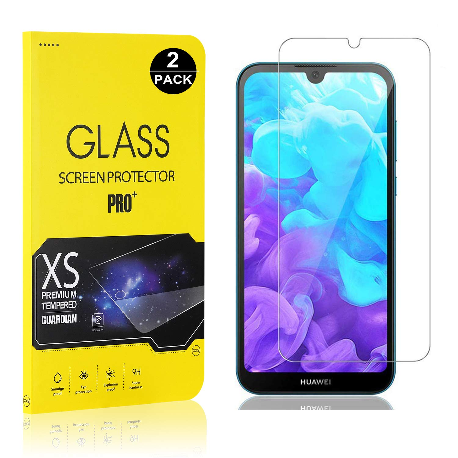 Screen Protector for Huawei Y5 2019 2 Pack Bear Village Tempered Glass Screen Protector 9H Hardness Screen Protector Film for Huawei Y5 2019
