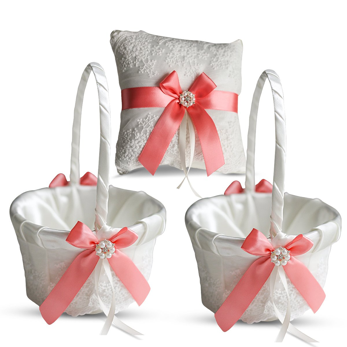Alex Emotions Ivory Ring Bearer Pillow and Basket Set | Lace Collection | Flower Girl & Welcome Basket for Guest | Handmade Wedding Baskets & Pillows (Coral)