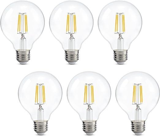 Pack de 6 bombillas LED de 4 W con rosca Edison E27, equivalente a bombilla incandescente de 40 W, 2700 K, luz blanca cálida, industrial, moderna, vintage, ahorro de energía: Amazon.es: Iluminación