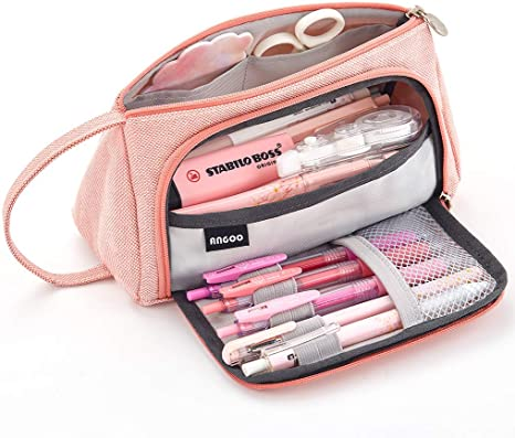 Amazon Com Easthill Large Capacity Pencil Case Multi Slot Pen Bag Pouch Holder For Middle High School Office College Girl Adult Simple Storage Case Pink Home Kitchen