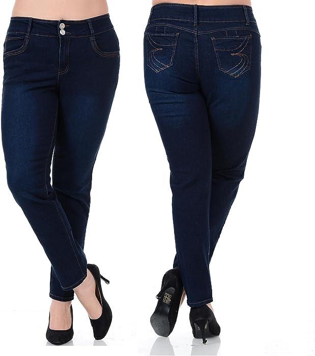 00c44698cab 1826 LA Bonita Womens Plus Size Blue Denim Jeans High Waist Slim Fit Stretch  Pants