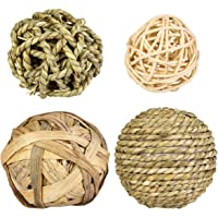 POPETPOP Rabbit Chew Ball Small Animal Chew Toys - Small Animal Activity Toy Woven Grass Ball - Teeth Grinder Toys for…