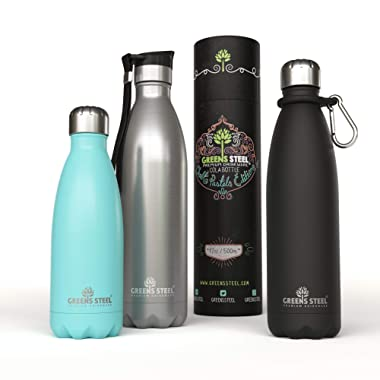 Stainless Steel Water Bottle - Vacuum Insulated Double Wall Leak Proof with Push Lid & Carabiner - Thermos Sports Flask 24 Hours Cold/ 12 Hours Hot - Bonus Value Bundle