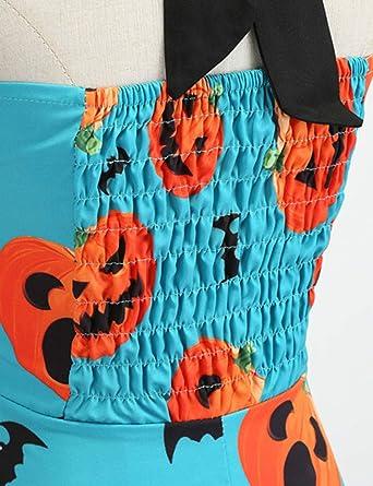 FEESHOW Damska Neckholder 1950er Rockabilly Kleider Petticoat Skaterrock Elegant Halloween Kleid Festliche Cocktail Party Abendkleider Blau S: Odzież