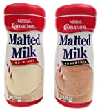 Nestle Carnation Malted Milk Powder, Chocolate and Orginal Flavor Bundle, 13 Oz Containers (2 Items)