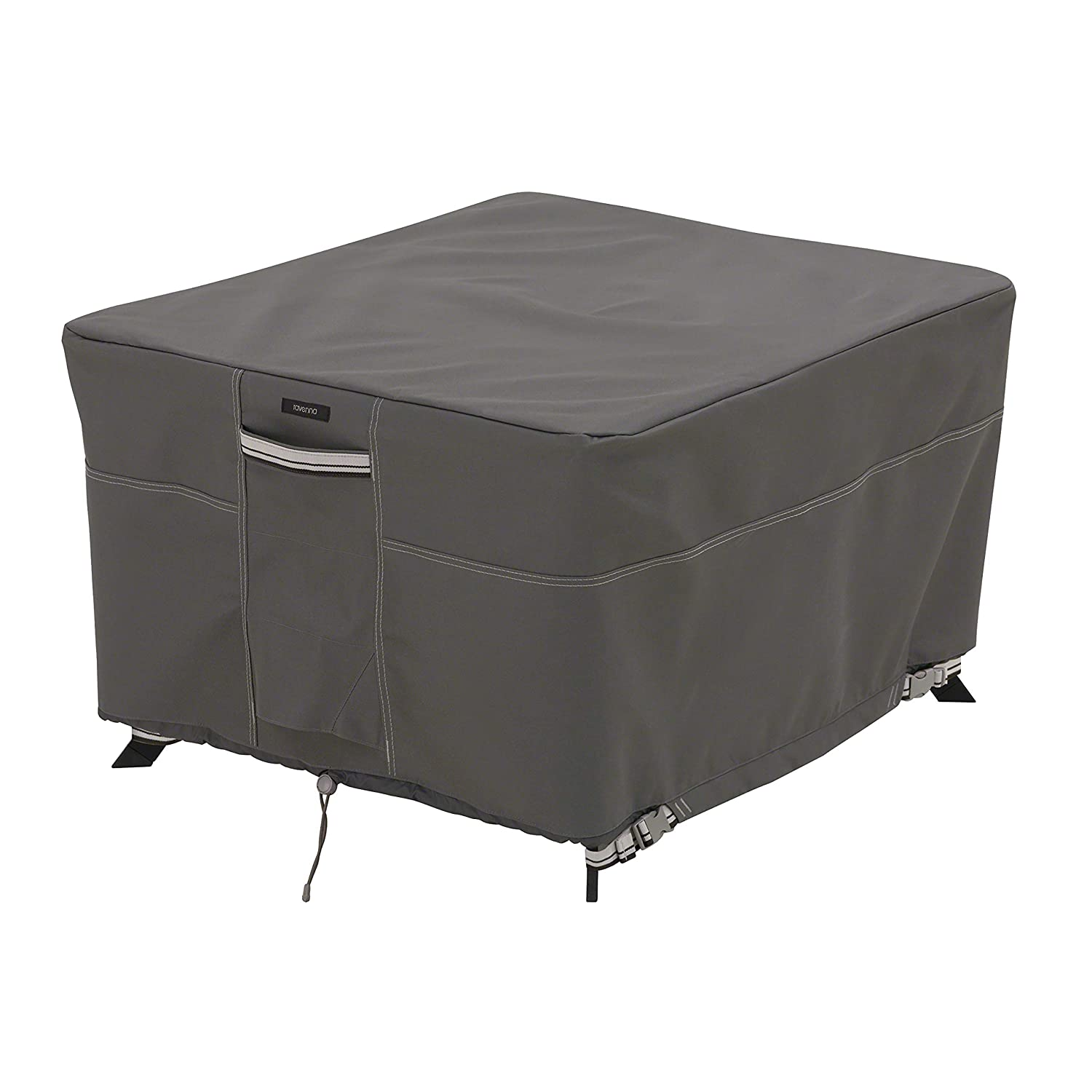 """Classic Accessories 56-045-045101-EC Ravenna Square Patio Table Cover, Large, Fits 60"""" L x 60"""" W x 23"""" H, Taupe"""