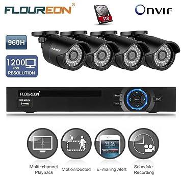 Floureon® 1 X 8CH 960H DVR Onvif 1080P NVR + 4 X: Amazon co uk