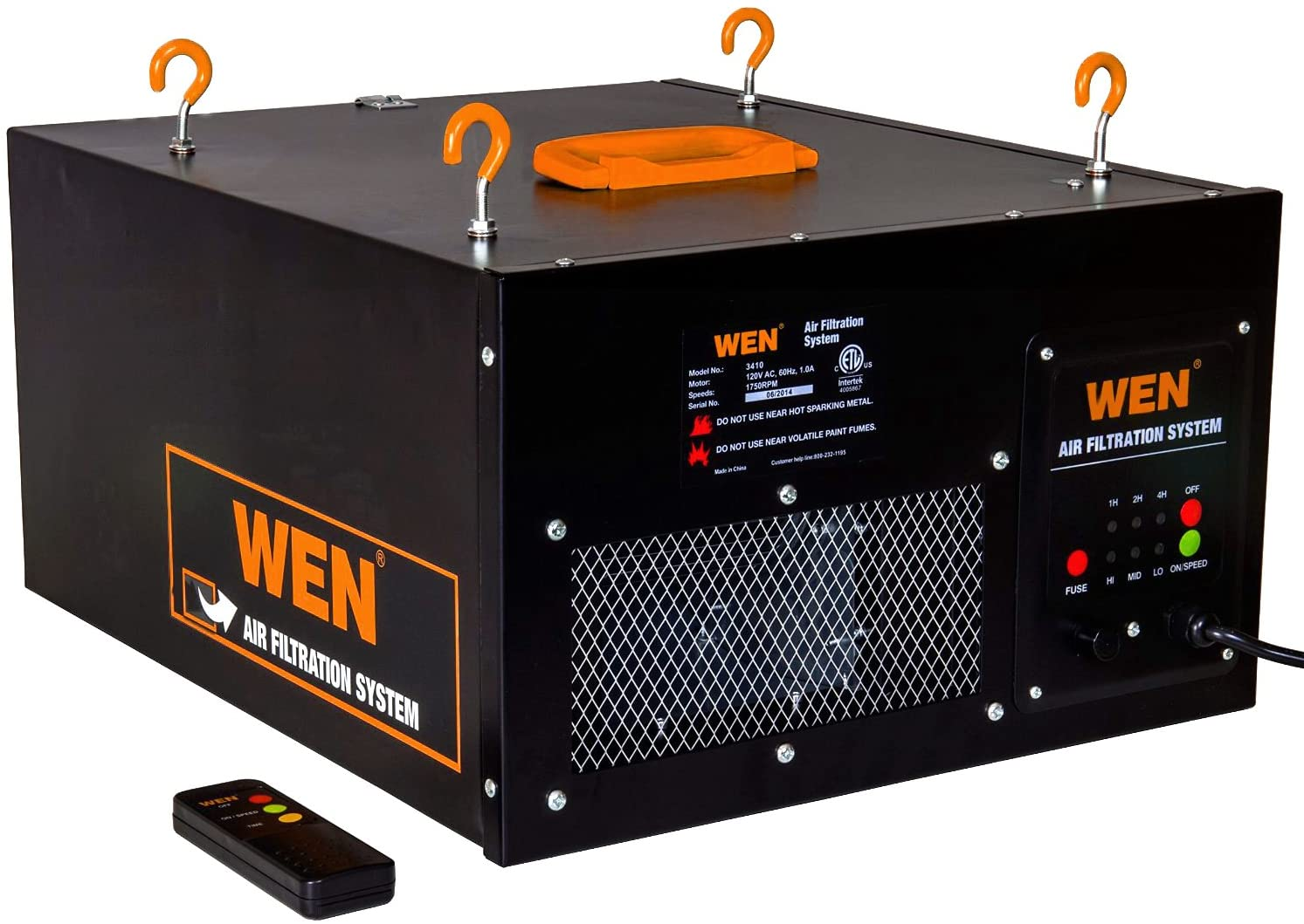 Wen 3410 3 Speed Remote Controlled Air Filtration System 300 350 400 Cfm Amazon Com