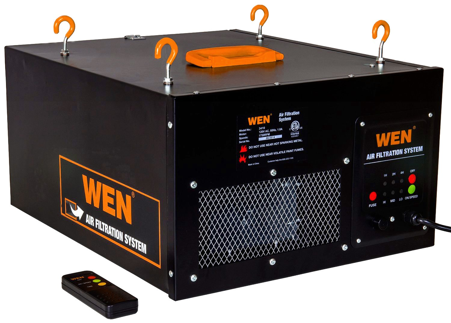 WEN 3410 3-Speed Remote-Controlled Air Filtration System (300/350/400 CFM) by WEN