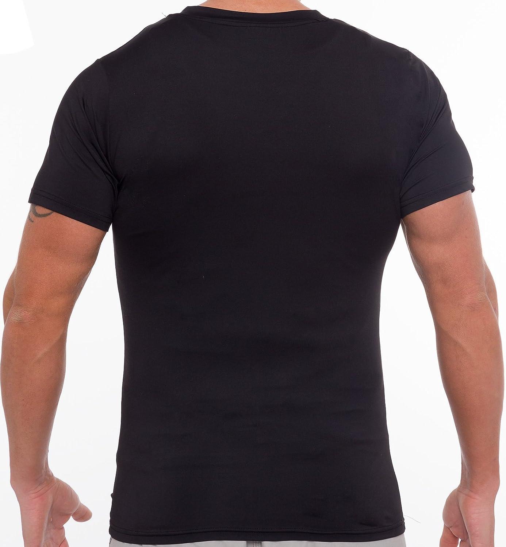 Short Sleeve Body Shaper T-Shirt for Weight Loss Mens Slimming Light Compression V-Neck Shirt