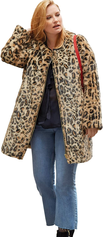 ellos Womens Plus Size Leopard Print Faux Fur Coat