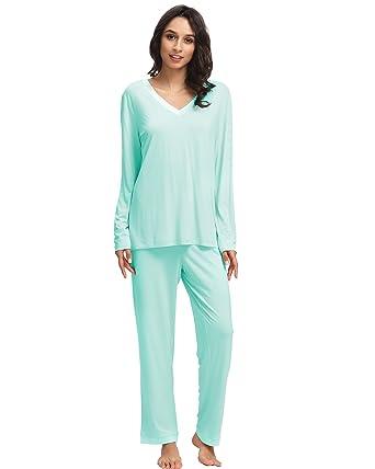 297f17d2a1 GYS Women s Bamboo Long Sleeve V Neck Pajama Pants Set at Amazon ...