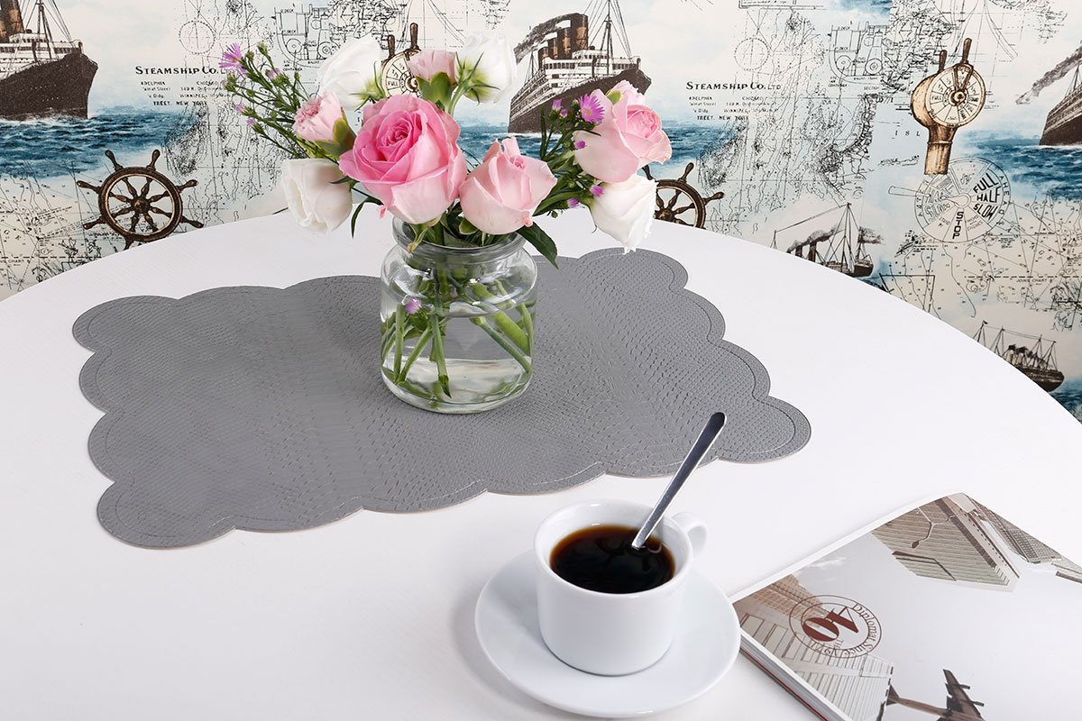 SICOHOME Leather Placemats,Grey Plastic Placemats Home,Set of 6 by SICOHOME (Image #5)