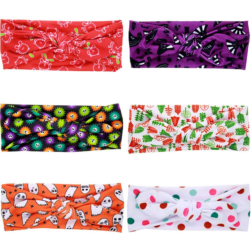 Lovinda Baby Girls Child Christmas Tree Print Headbands Cute Rabbit Ear Bowknot Kids Hairband Elastic Hair Accessories x1piece