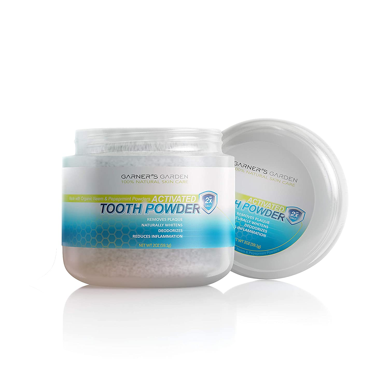 Garner's Garden Activated Tooth Powder 2 oz, Flouride Free, Remineralizes, Removes Plaque, Naturally Whitens, Deodorizes, Reduces Inflammation