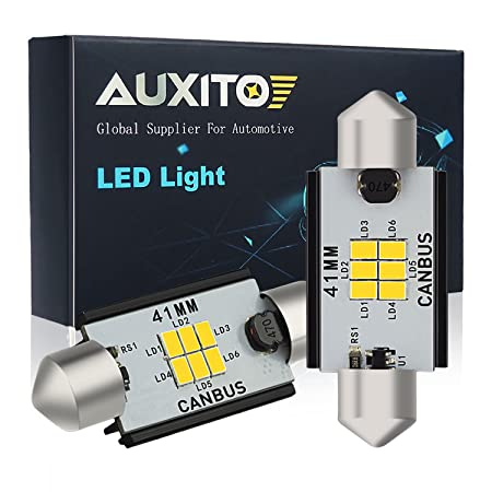 img buy AUXITO 578 Festoon LED Bulbs 400 Lumens Extremely Bright 211-2 212-2 41MM 42MM Canbus Error Free LED Bulbs for Interior Car License Plate Dome Map Door Courtesy Lights Xenon White,Pack of 2