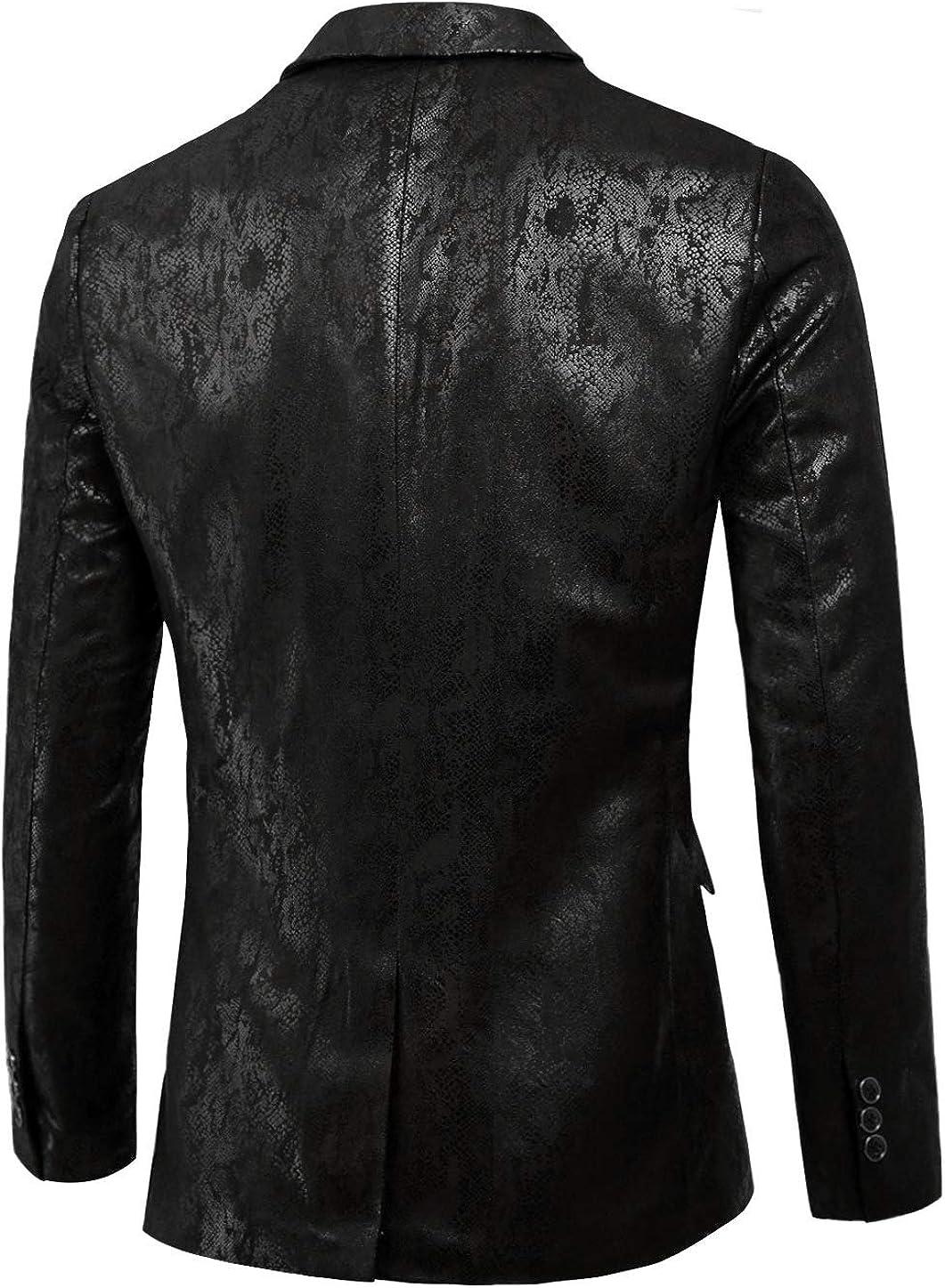 Lars Amadeus Mens Party Animal Print Blazer Notched Lapel Lightweight Sport Coat Suit Jacket