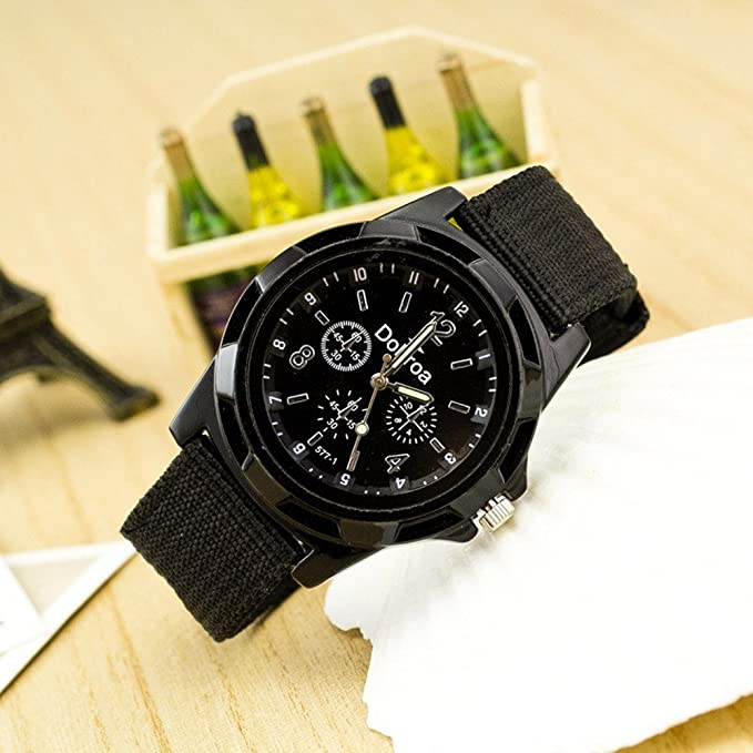 Yivise Correa de Lona Trenzada Casual de Moda para Hombres Reloj de Cuarzo Analógico Deportivo con Dial Redondo Reloj de Pulsera(B): Amazon.es: Relojes