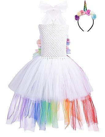 378dc60433ef2a iiniim Fille Licorne Robe Princesse Cérémonie Fête Danse Ballet Tutu Lacets  Cou Halter Cosplay Costume Déguisement Carnaval Robe Journée des ...