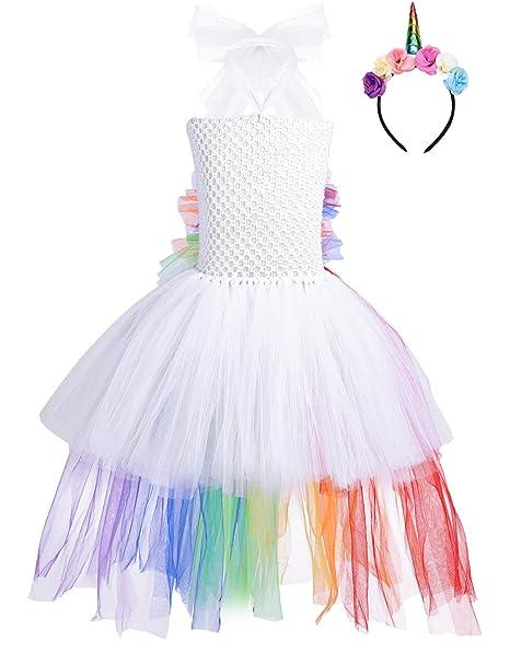 iiniim Vestido Niña Princesa con Diadema Unicornio Disfraz ...