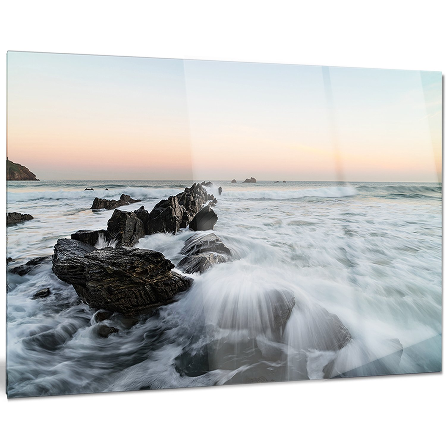 Designart MT10718-401 Bay of Biscay White Waves Hitting Beach Contemporary Seascape Glossy Metal Wall Art,Blue,60x28