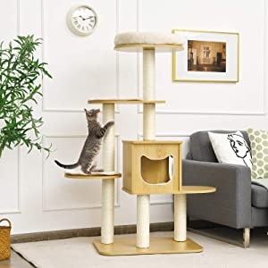 Tangkula Modern Wood Cat Tree, 53 Inches Cat Tower with Platform, Cat Activity Center with Scratching Posts and Washable Cushions, Wooden Cat Condo Furniture for Kittens and Cats