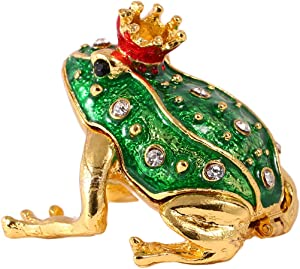 Crystal Jeweled Crown Frog Trinket Box Hinged Collectible Frog Figurine Decor Ring Holder Hand-Painted Decorative Jewelry Holder Box
