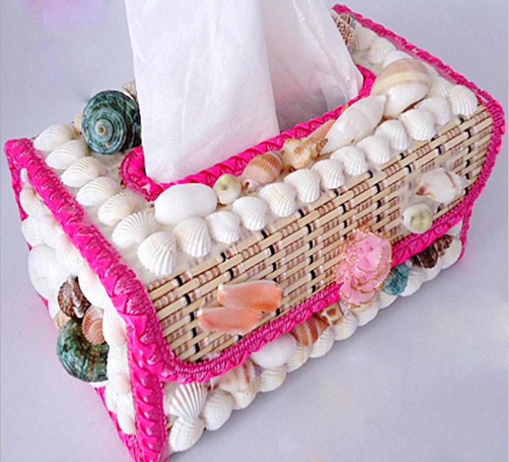 LBY King Size Caja de pañuelos Conch Shell joyería bambú jardín servilleta caja regalo adornos: Amazon.es: Hogar