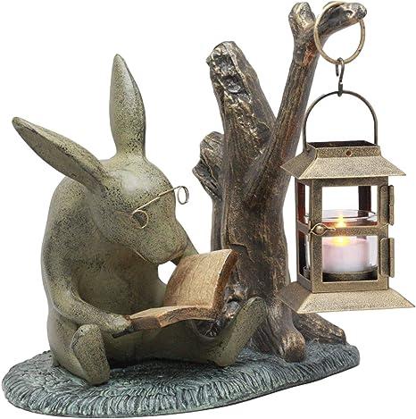 Home Lawn Garden Patio Decor Whimsical Bunny Rabbit Reading Book Candle Lantern Statue Candleholder Amazon Ca Patio Lawn Garden
