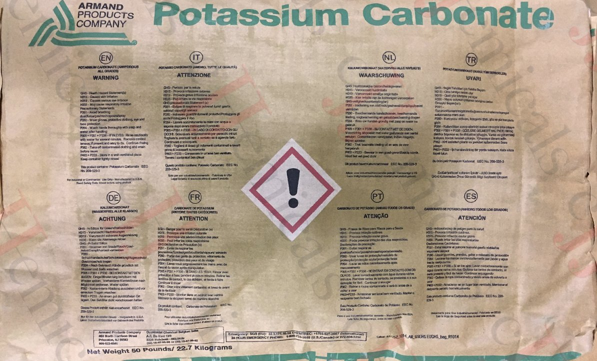 Potassium Carbonate ''K2CO3'' Minimum 99% purity! 50LB BAG!