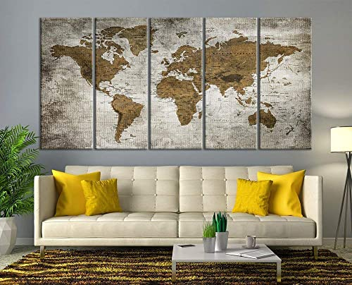 Modern Large Wall Art Vintage Old World Map Map Push Pin Canvas Print for  Wall Decor - Wall Art Canvas Print Antique Travel Map for Home and Living  ...