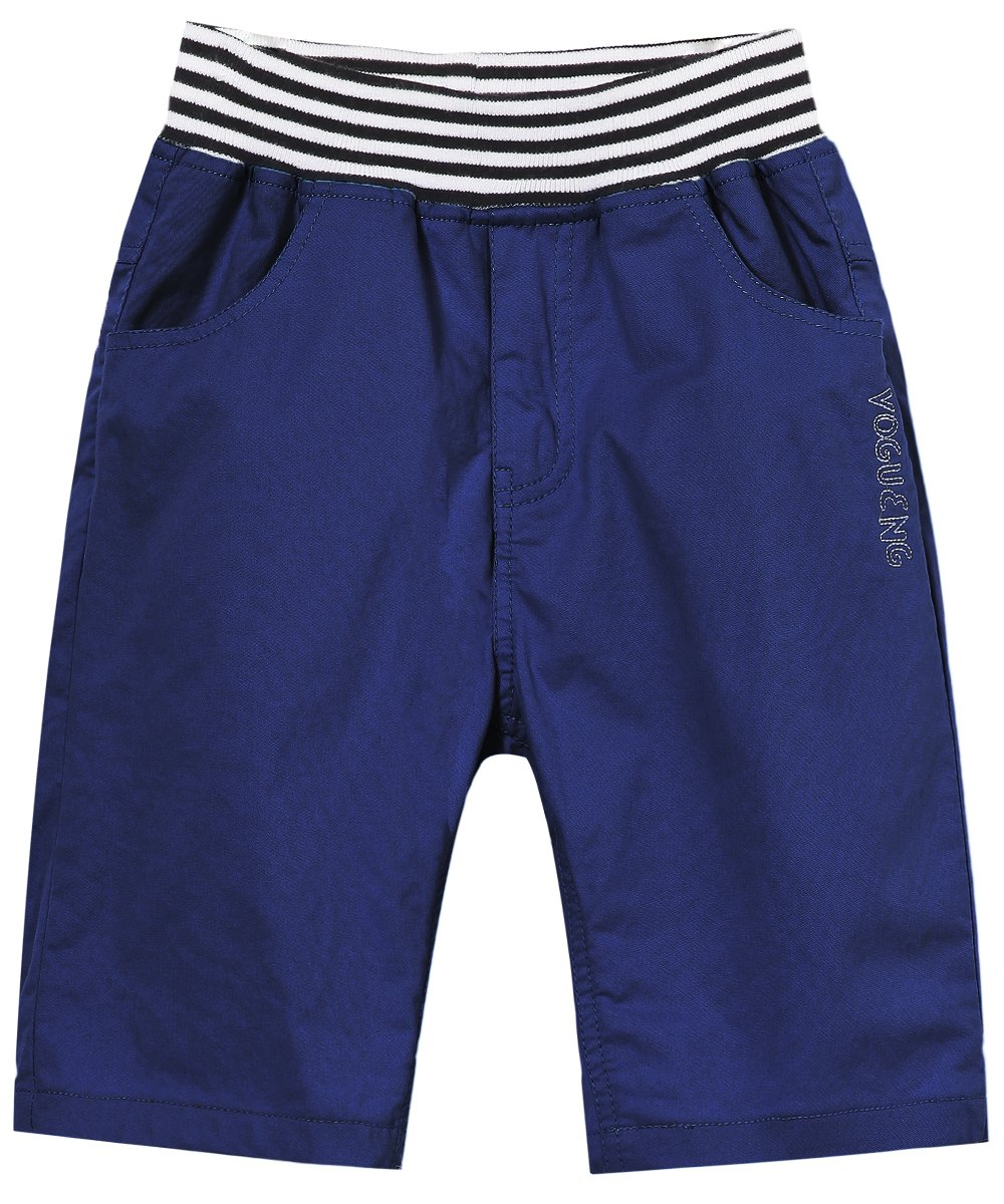 BYCR Big Boys' Solid Color Cotton Elastic Waist Casual Shorts for Kids