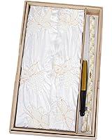 留袖用 正絹 白の絞り帯揚げ・帯締めセット 末広(扇子)付