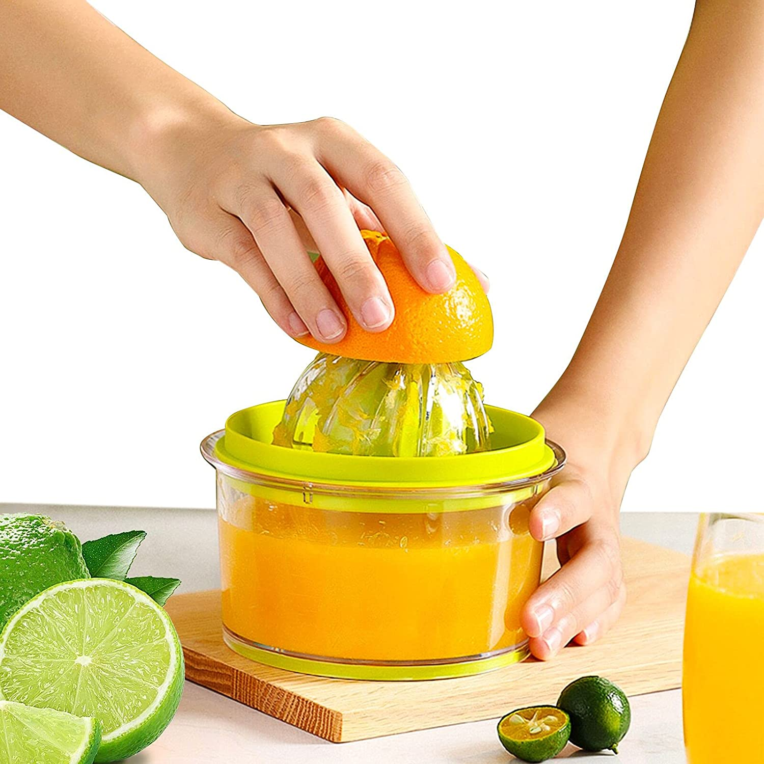 Manual orange Juicer Lemon Squeezer Citrus Juicers Extractor with Built-in Measuring Cup and Strainer, Juicing Tool 16 oz Capacity