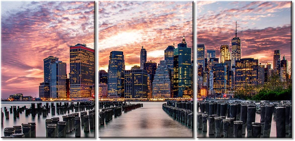 Aiyisu New York City Skyline Canvas Wall Art Twilight Night Cityscape Scene Picture Print 12x16 Inch X 3 Panels Set Gallery Wrapped Stretched And Framed Artwork Modern Office Bedroom Home Decoration Home